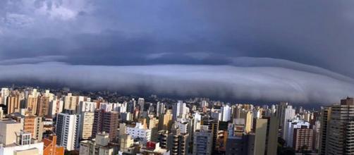 Moradores de Campinas registram passagem de nuvem rolo. (Reprodução/Arquivo Pessoal)