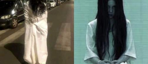 Samara Challenge a Roma: una ragazza travestita da Samara viene immortalata mentre cammina per la città