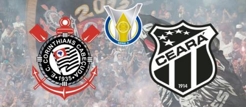 Corinthians x Ceará ao vivo neste sábado (7). (Fotomontagem)