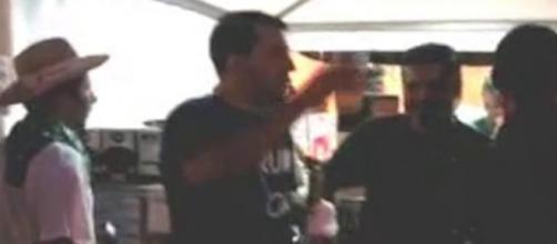 Matteo Salvini alla festa della Lega a Pontida nel 2009