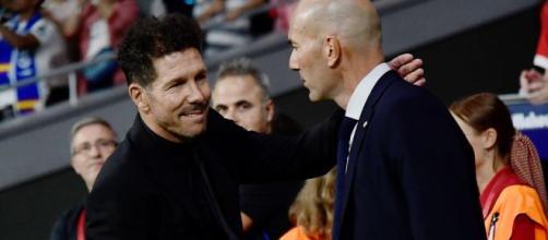 Simeone e Zidane, gli allenatori di Atletico e Real.