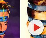 L'artwork del brano di Ghali e Salmo a sinistra, la grafica di Moon Patrol a destra.