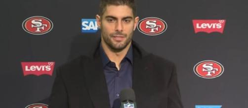 Garoppolo threw for 27 touchdowns this season. [Image Source: San Francisco 49ers/YouTube]