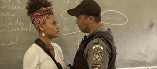 Camila é agredida por policial em 'Amor de Mãe'. (Reprodução/TV Globo)