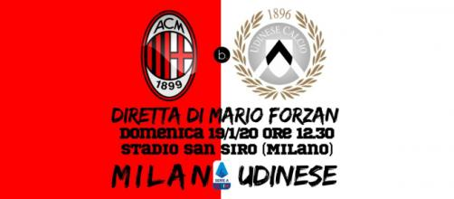Serie A: Milan - Udinese dalle 12.30 a San Siro.