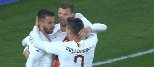 Esultanza giocatori della Roma in Serie A