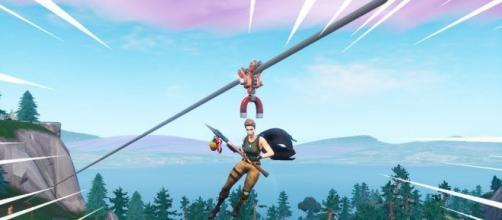 'Fortnite' players can teleport using ziplines. [Image Source: In-game screenshot]