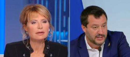 Lilli Gruber e Matteo Salvini.