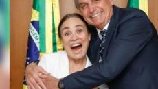 Regina Duarte almoça com Bolsonaro em Brasília e ele afirma que o 'noivado' continua