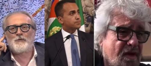 Paolo Becchi, Luigi Di Maio e Beppe Grillo.