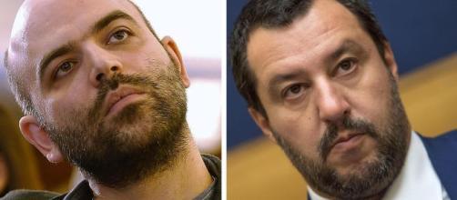 Il giornalista Roberto Saviano e il politco Matteo Salvini