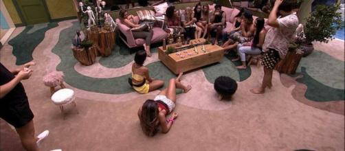 Camarote e Pipoca brincam na sala durante madrugada de quarta (29). (Reprodução/TV Globo)