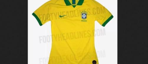 Suposta nova camisa da seleção brasileira. (Reprodução/FootyHeadlines)
