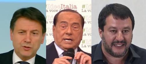 Giuseppe Conte, Silvio Berlusconi e Matteo Salvini