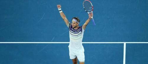 Dominic Thiem, l'esultanza dopo la vittoria su Zverev (ph. twitter Australian Open).