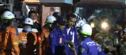 Many killed in Cambodian building collapse. [Image source/CGTN YouTube video]