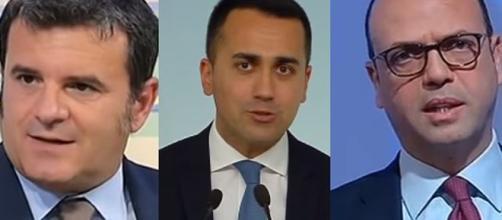 Gian Marco Centinaio, Luigi Di Maio ed Angelino Alfano.