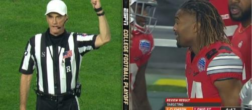 Refs walking on the ropes, NCAA under pressure from Buckeyes to sack them. Image credit:ESPN/Youtube screenshot