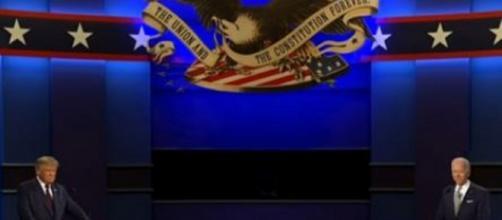 Joe Biden and Donald Trump clash during last night's debate. Screenshot via Wall Street Journal Youtube channel.