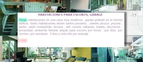 Anuncio insertado por la ex mujer de Mainat ofreciendo habitaciones a escorts en la mansión del productor
