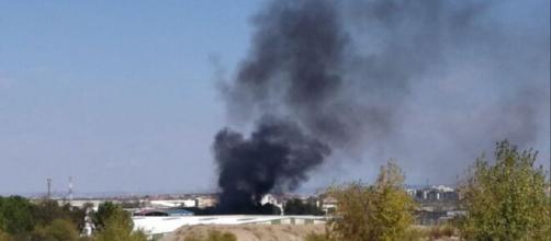 Incendio en el polígono industrial de Vicálvaro