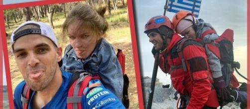 Marios Giannakou y Eleftheria Tosiou en camino a la cima del Olimpo.
