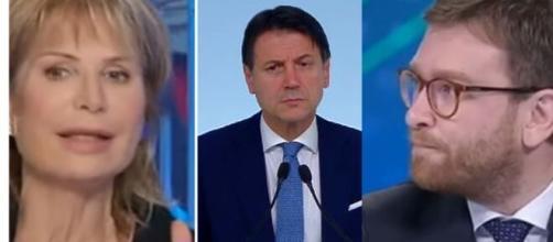 Lilli Gruber, Giuseppe Conte e Giuseppe Provenzano.