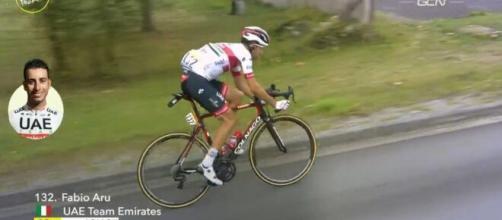 Fabio Aru nella tappa del ritiro al Tour de France.