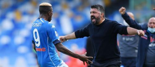 Napoli-Atalanta 4-1: Osimhen e Gattuso esultano per la vittoria.