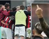 Dito medio di Davide Calabria nel derby.