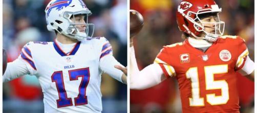 Josh Allen e Patrick Mahomes são as principais armas entre Buffalo Bills e Kansas City Chiefs, pela sexta rodada da NFL. (Arquivo Blasting News)