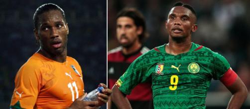 O marfinense Drogba e o camaronês Eto'o estão entre os melhores futebolistas africanos. (Arquivo Blasting News)