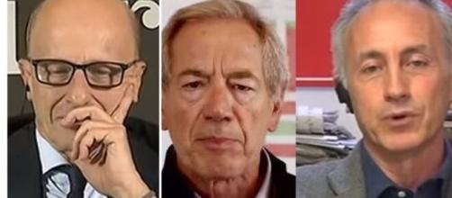 Alessandro Sallusti, Guido Bertolaso e Marco Travaglio.