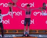 Il podio finale del Giro d'Italia 2020.