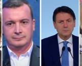 Nicola Porro, Rocco Casalino, Giuseppe Conte, Marco Travaglio.