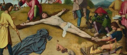 'Christ Nailed to the Cross,' was made by Gerard David in 1481. [Image Source: Alexander Smeet/Flickr]