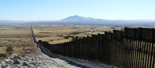 View of US-Mexico border wall. [Image source/ABC News YouTube video]