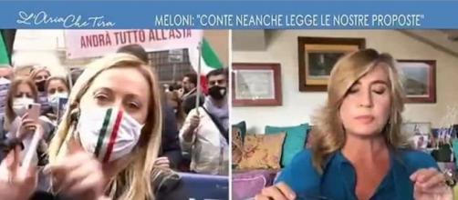 Myrta Merlino fa infuriare Giorgia Meloni durante L'aria che tira.