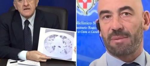 Vincenzo De Luca, governatore della Campania, e Matteo Bassetti, direttore delle Malattie Infettive del Sacco di Milano.