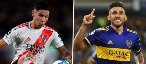 O lateral-direito Gonzalo Montiel e o meia Eduardo Salvio representarão River e Boca nas Eliminatórias da Copa. (Arquivo Blasting News)