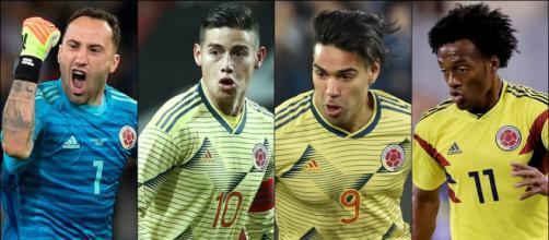 Ospina, James Rodriguez, Falcao Garcia e Cuadrado são as principais estrelas colombianas convocadas. (Fotomontagem)