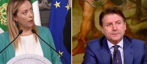 Giorgia Meloni contro Giuseppe Conte dopo la profonda revisione dei decreti sicurezza.