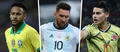 Neymar, Messi e James Rodríguez são estrelas que vão incendiar as Eliminatórias. (Arquivo Blasting News)