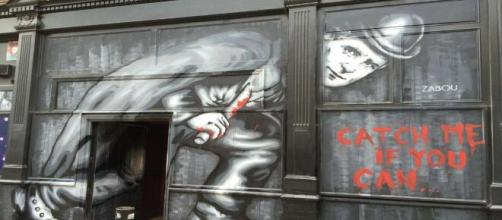 Zabou's street art of Jack the Ripper horrified passersby in merry old England. [Image Source: Matt Brown/Flickr]