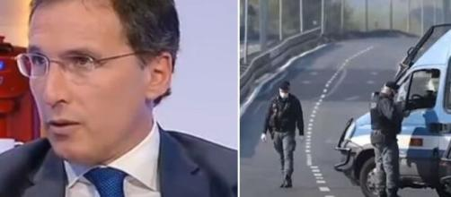 Il Ministro per gli Affari Regionali Francesco Boccia e un posto di blocco durante il lockdown.