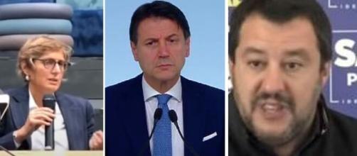 Giulia Bongiorno, Giuseppe Conte e Matteo Salvini.