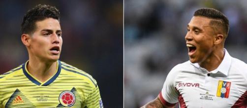James Rodríguez e Darwin Machís são as principais armas no confronto entre Colômbia e Venezuela. (Arquivo Blasting News)