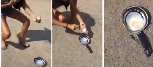 O ovo foi colocado numa pequena frigideira no asfalto, e em poucos segundos começou a fritar. (Reprodução/ Redes sociais).