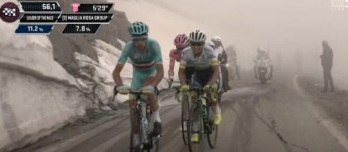 Vincenzo Nibali sul Colle dell'Agnello al Giro d'Italia 2016.