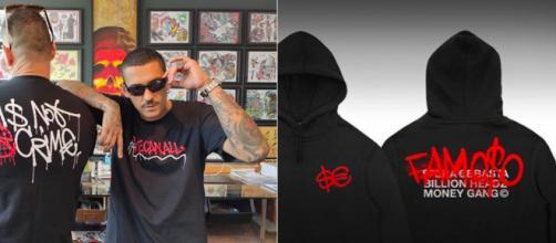 A destra le maglietta di WCA, a sinistra il merchandising di Sfera Ebbasta.